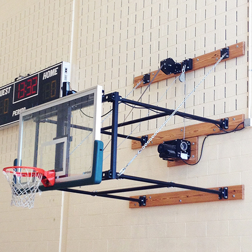 "Fold-Up Backstop System – w/ 42"" Glass Backboard (4'- 6' Ext)"