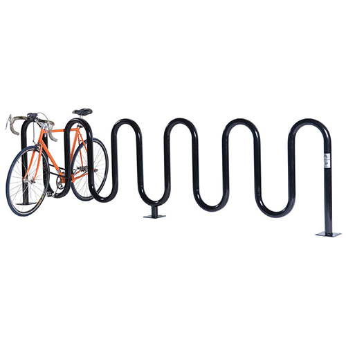 Wave Bicycle Rack (7 Capacity – Surface Mount – Powder Coated)