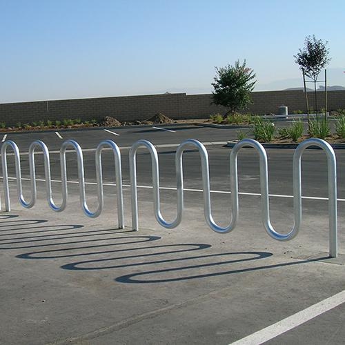 Wave Bicycle Rack (9 Capacity – Below Grade Mount – Galvanized)