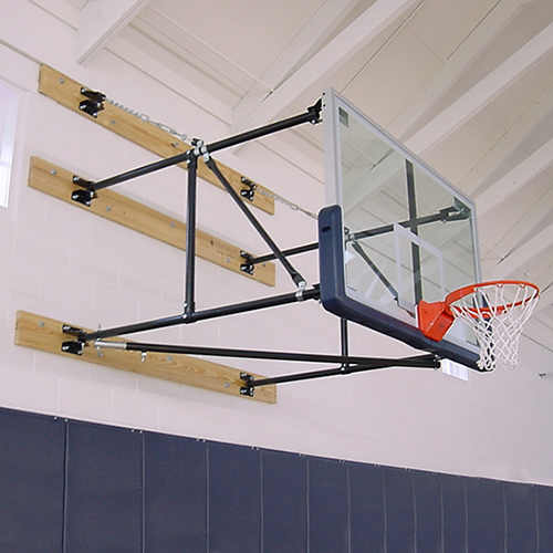 "Side Fold Backstop System – w/ 42"" Glass Backboard (4'- 6' Ext)"