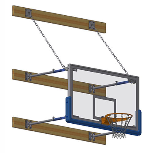 "Stationary Backstop System – w/ 42"" Glass Backboard (2'-4' Ext)"
