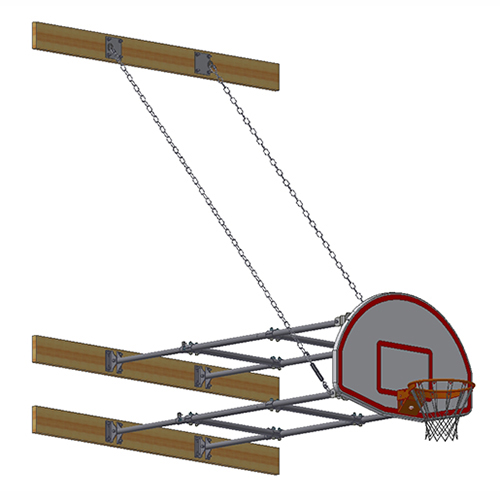 Stationary Backstop System – w/ Aluminum Fan Backboard (6'-8' Ext)