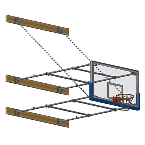 "Stationary Backstop System – w/ 42"" Glass Backboard (8'-10' Ext)"