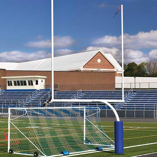 Steel Football Goal Post (Leveling Plate – 5'Ox20'U – High School – White)