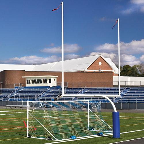 Steel Football Goal Post (Leveling Plate – 5'Ox30'U – High School – White)