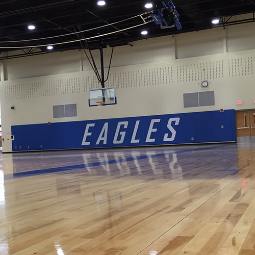 Gymnasium Wall Padding – White Lettering