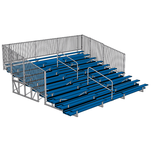 Enclosed Bleacher (10 Row – 21' – w/ Guard Rail & Aisle – Powder Coated)