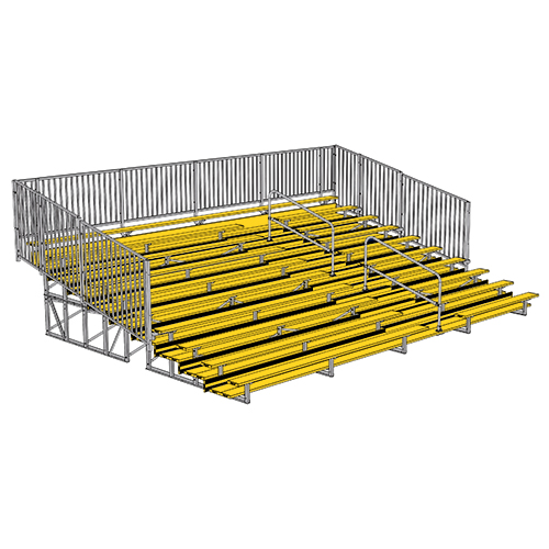 Enclosed Bleacher (10 Row – 27' – w/ Guard Rail & Aisle – Powder Coated)