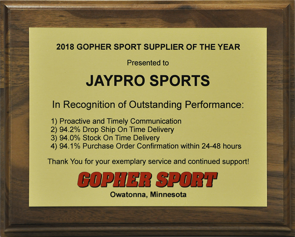 Jaypro Sports Wins 2018 Supplier of the Year Award | Jaypro